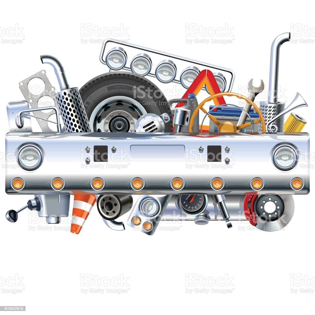 Vector Truck Bamper with Spares vector art illustration