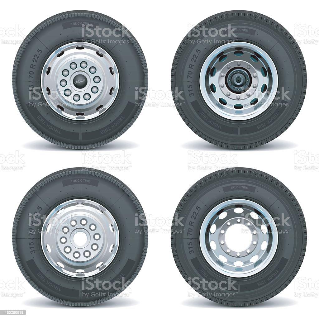 Vector truck tire icons vector art illustration