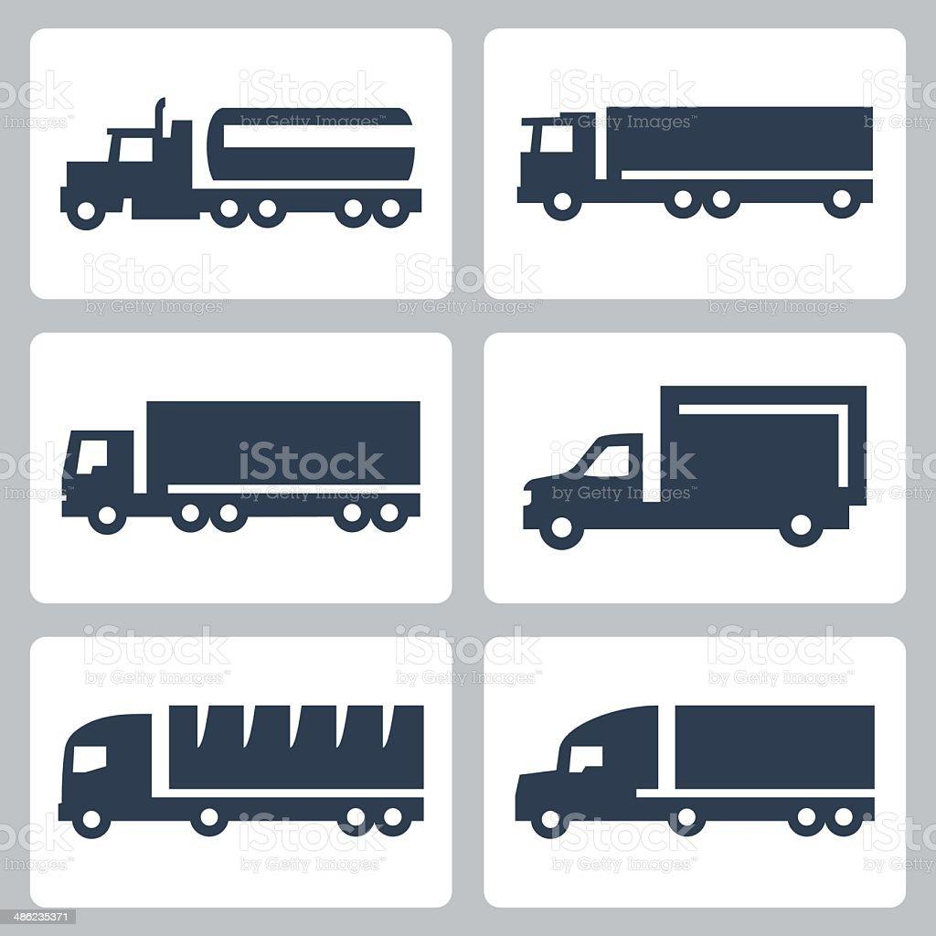 Vector trucks icons set, side view vector art illustration