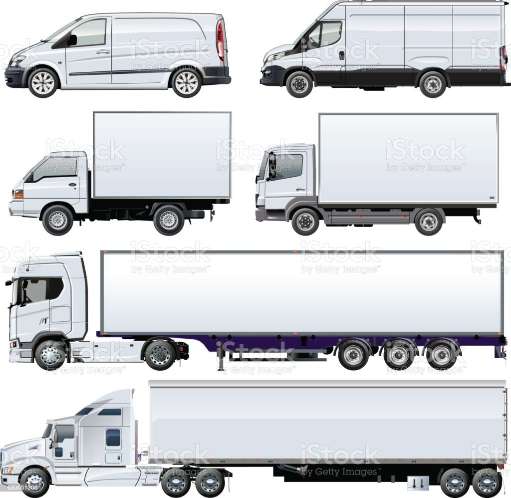 Vector trucks template isolated on white royalty-free stock vector art