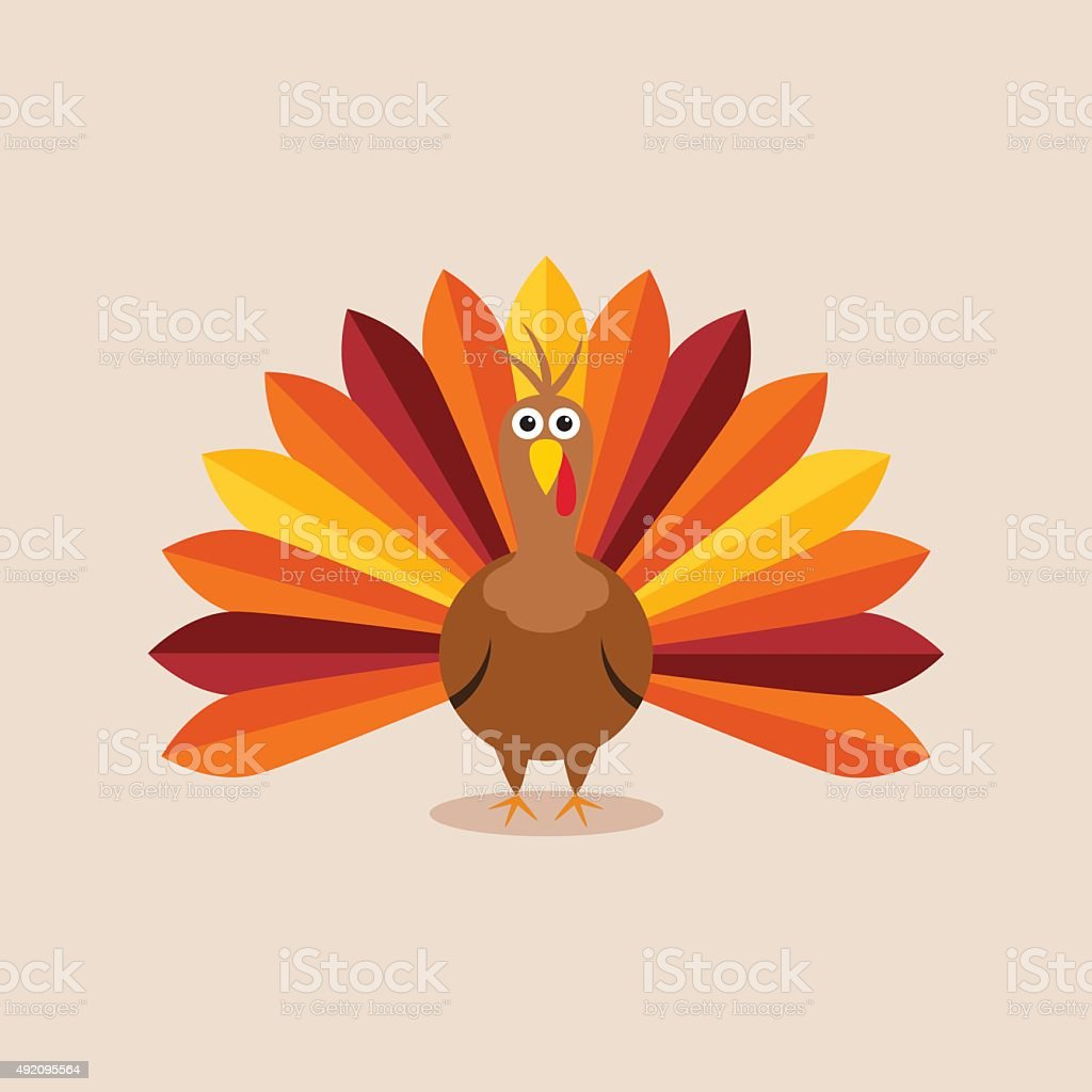 vector turkey card for thanksgiving day vector art illustration