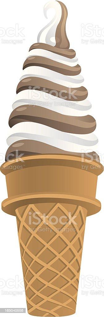 Vector twist cone choc. vanilla royalty-free stock vector art