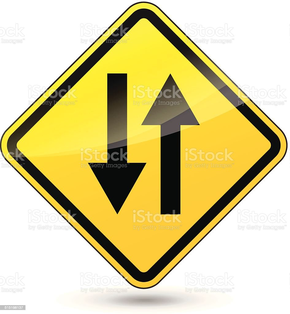 Vector two way yellow sign vector art illustration