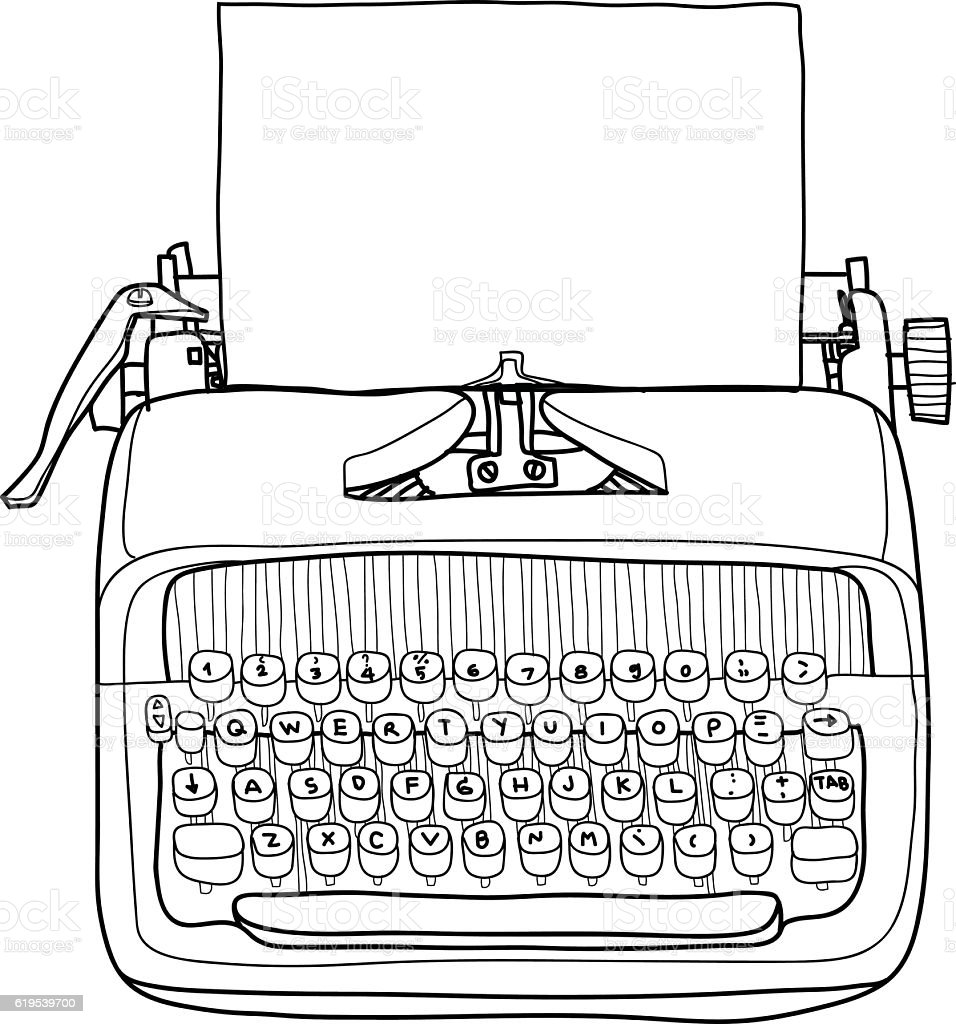 vector typewriter working portable with paper hand drawn line ar vector art illustration