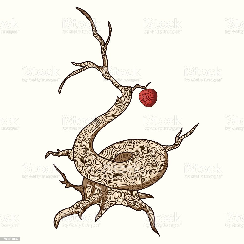 Vector ugly old tree with one beautiful red apple royalty-free stock vector art