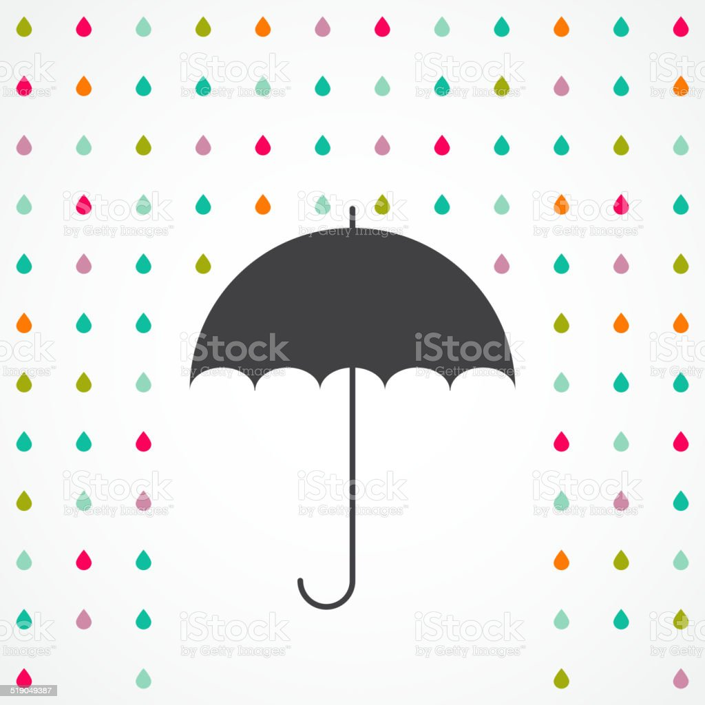 Vector umbrella and rain drops - abstract weather concept vector art illustration