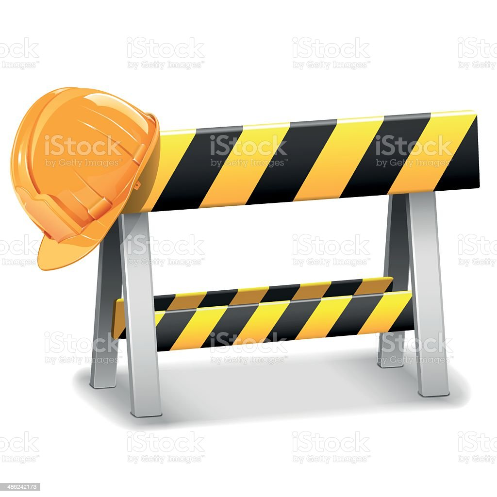 Vector Under Construction Barrier with Helmet vector art illustration