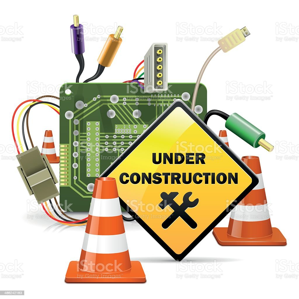 Vector Under Construction Concept with Sign vector art illustration