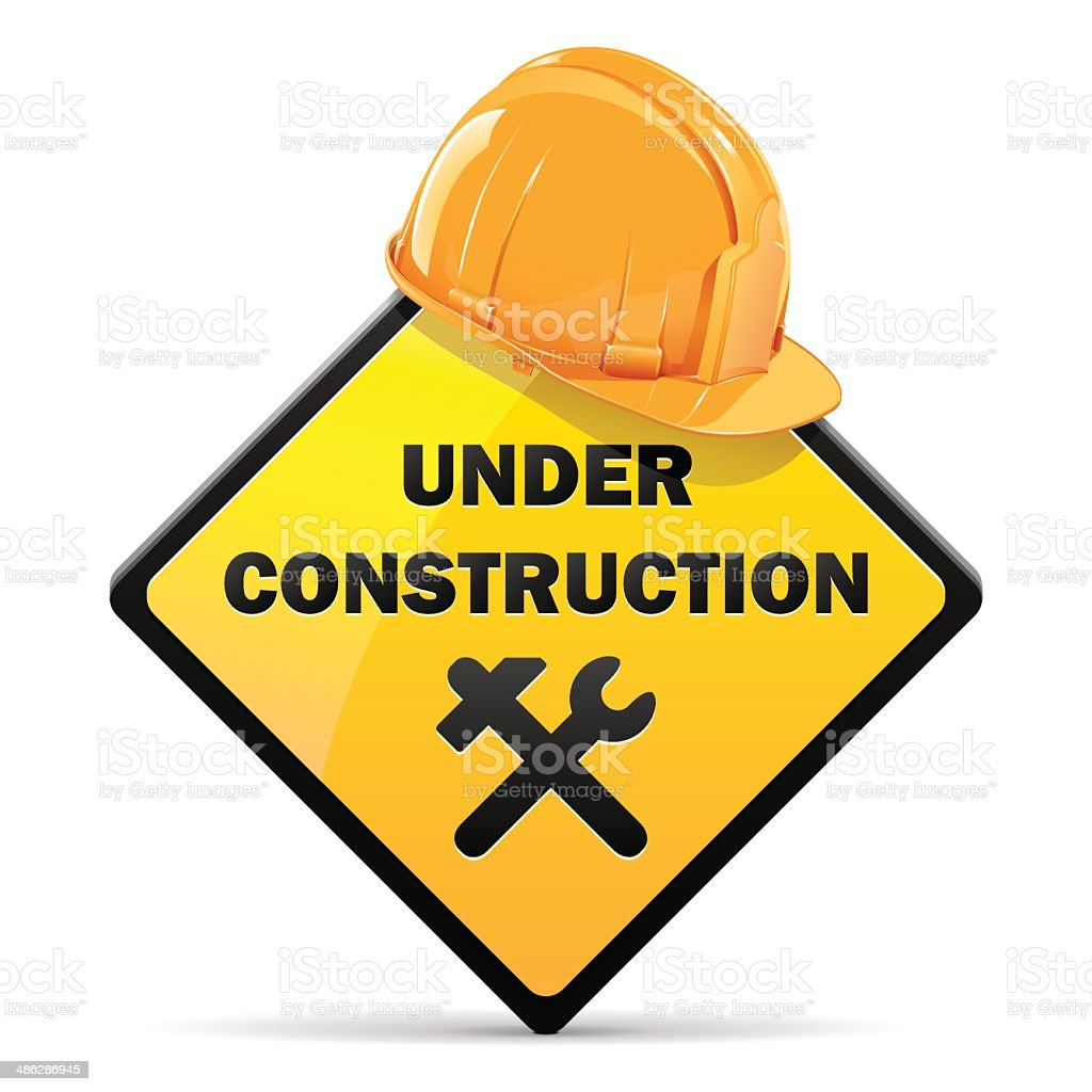 Vector Under Construction Sign with Helmet vector art illustration