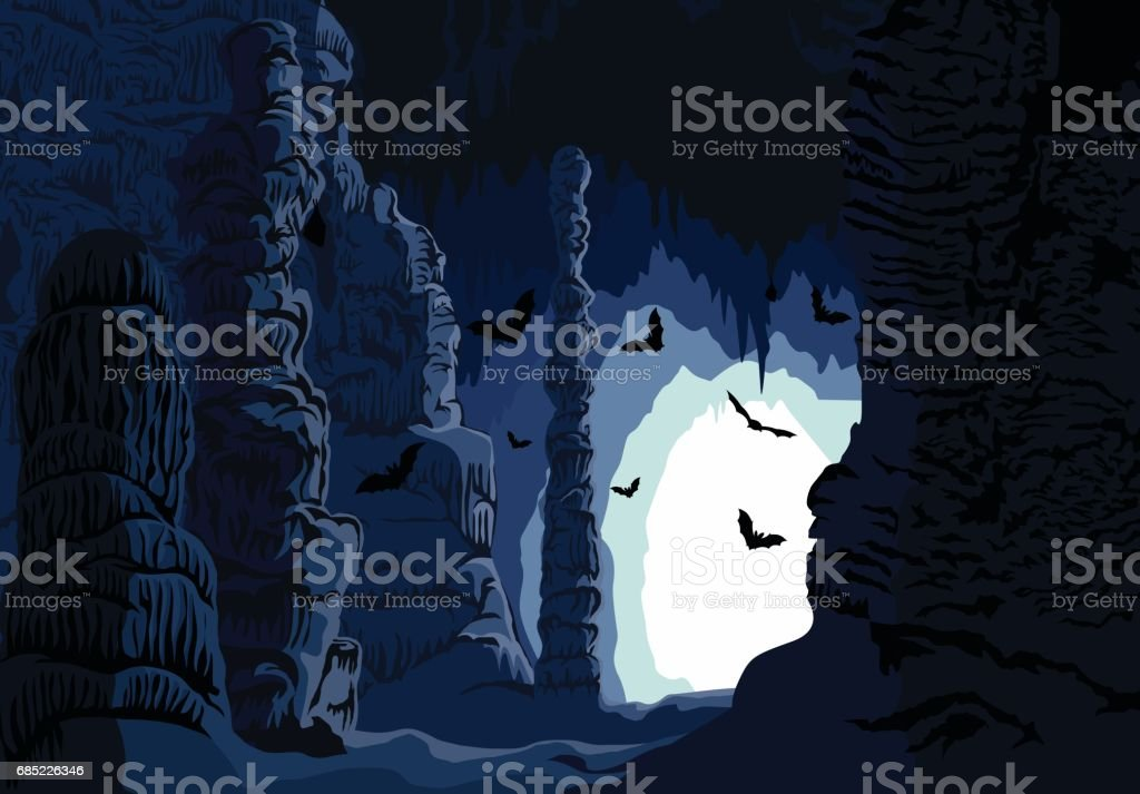 Vector underground karst cave with bats vector art illustration