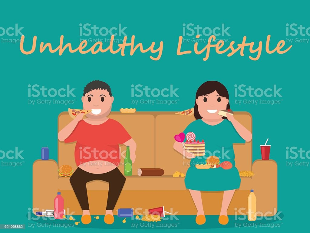Vector unhealthy lifestyle, human laziness, obese vector art illustration