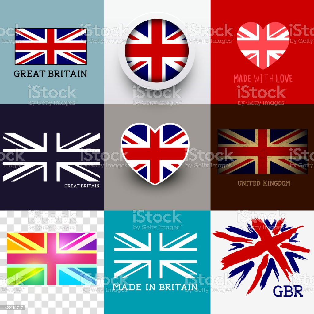 Vector Union Jack Flag Collection vector art illustration