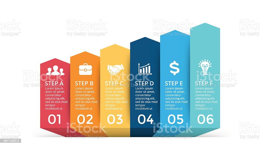 Vector up arrows infographic, progress diagram chart, stairs graph presentation vector art illustration