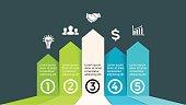 Vector up arrows progress infographic, performance diagram chart, success graph