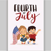 Vector US 4 july independence day lettering, children holding flag