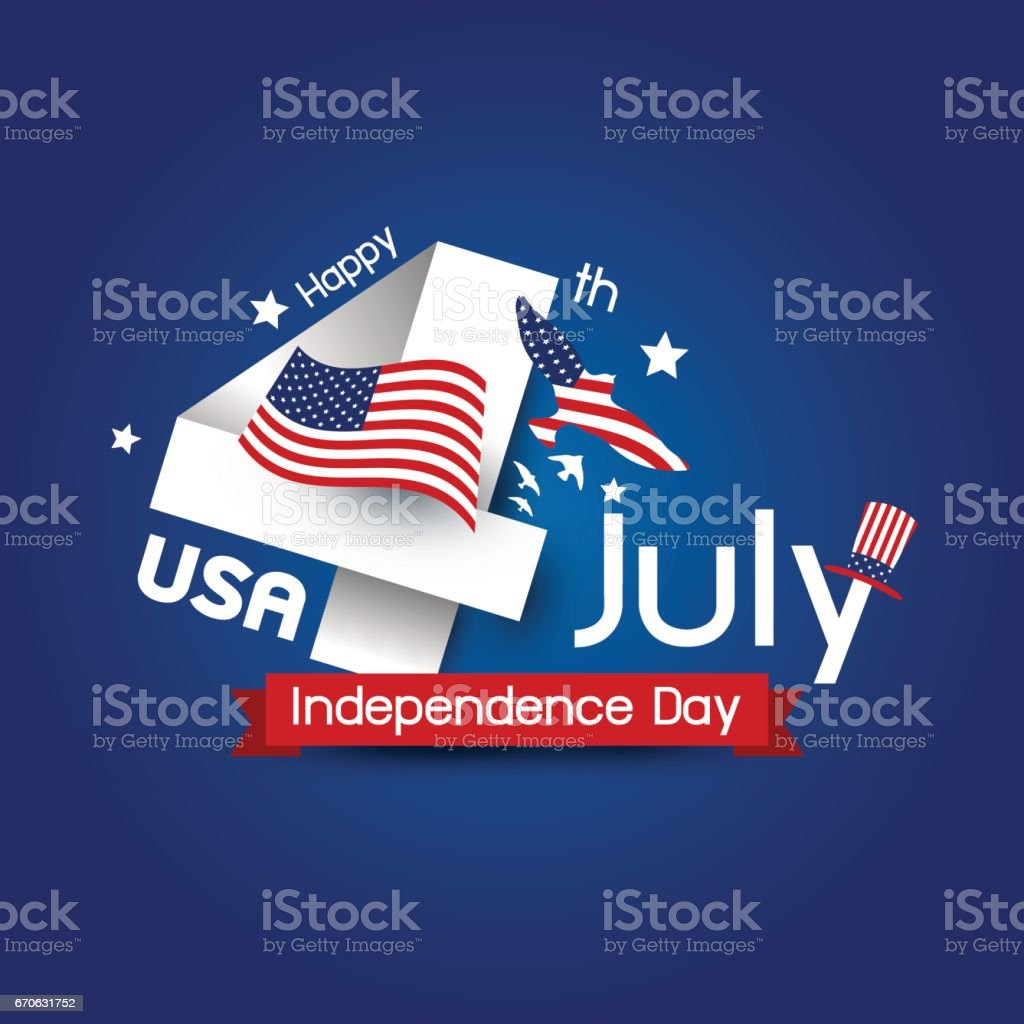 Vector USA 4 july happy independence day design vector art illustration