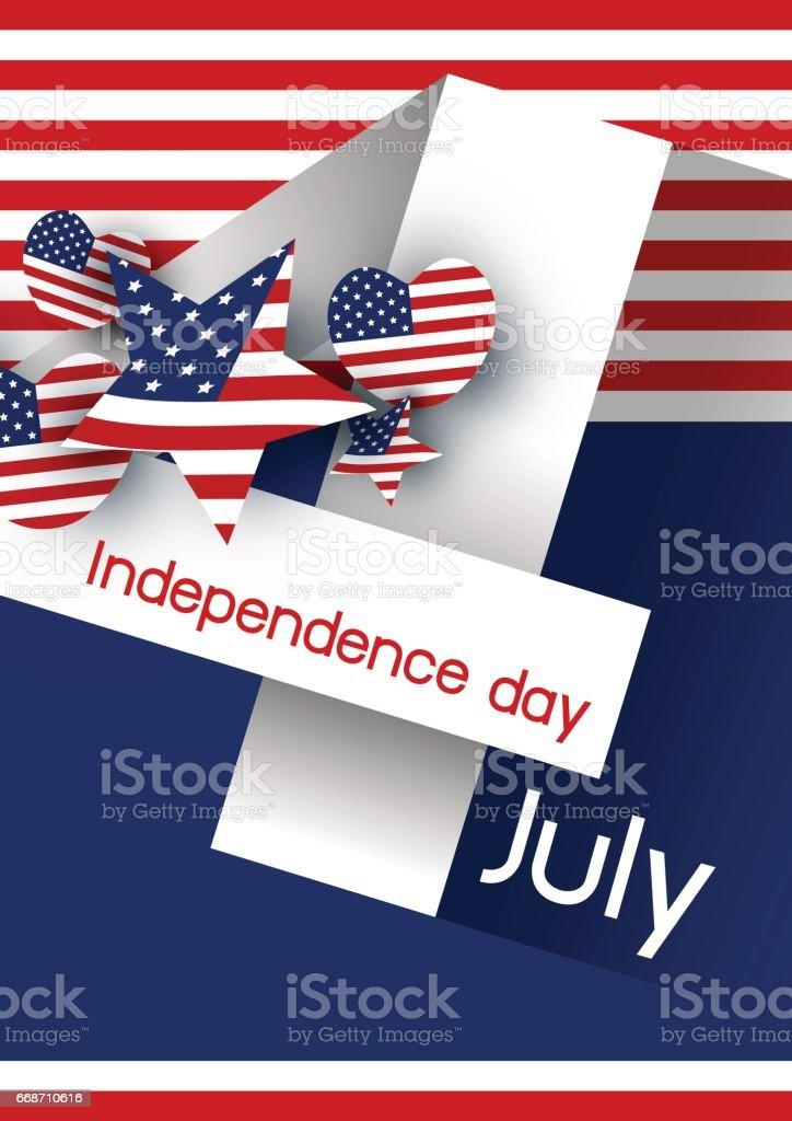 Vector USA 4 july independence day design vector art illustration