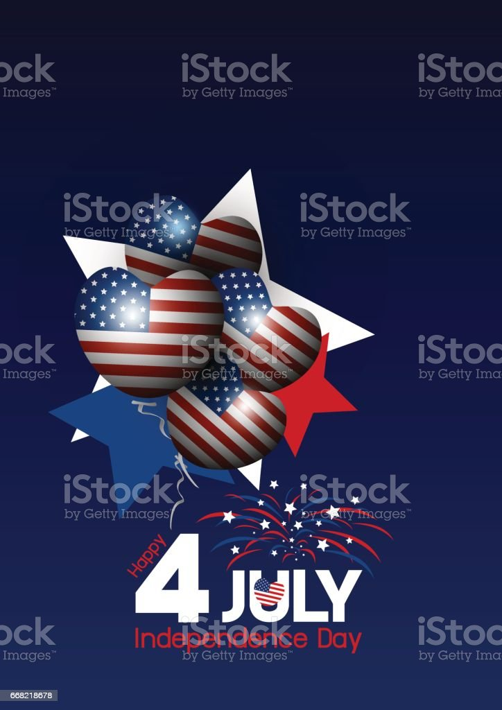 Vector USA 4 of july happy independence day design vector art illustration
