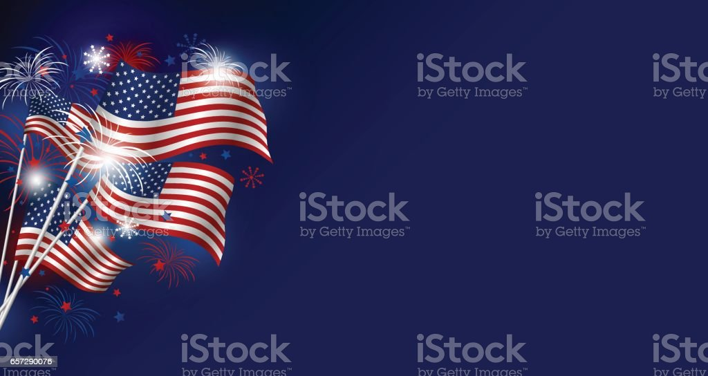 Vector USA flag designwith firework for 4 july independence day and other celebration vector art illustration
