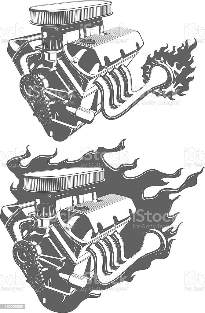vector V8 engine vector art illustration