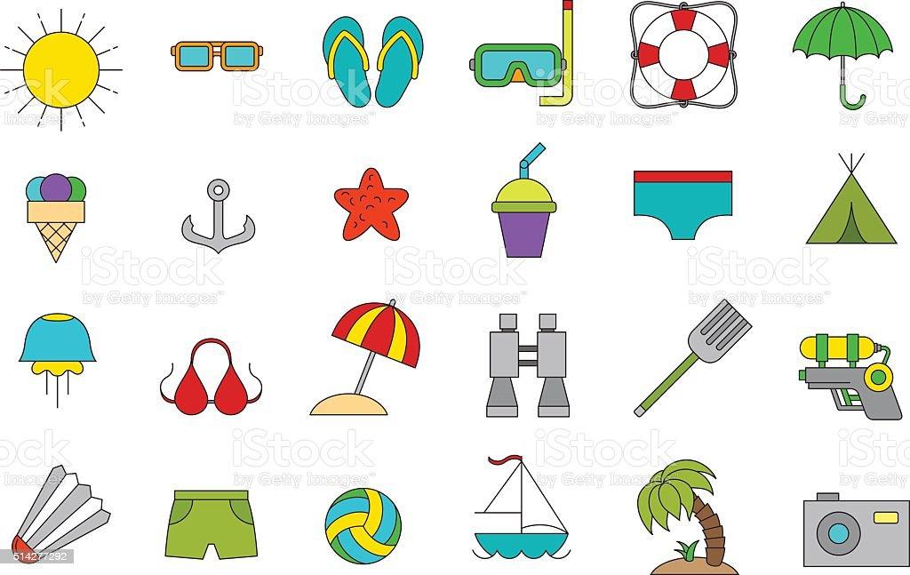 Vector vacation icons set vector art illustration