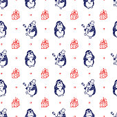 Vector Valentine background with doodle Cute Penguins. Seamless pattern