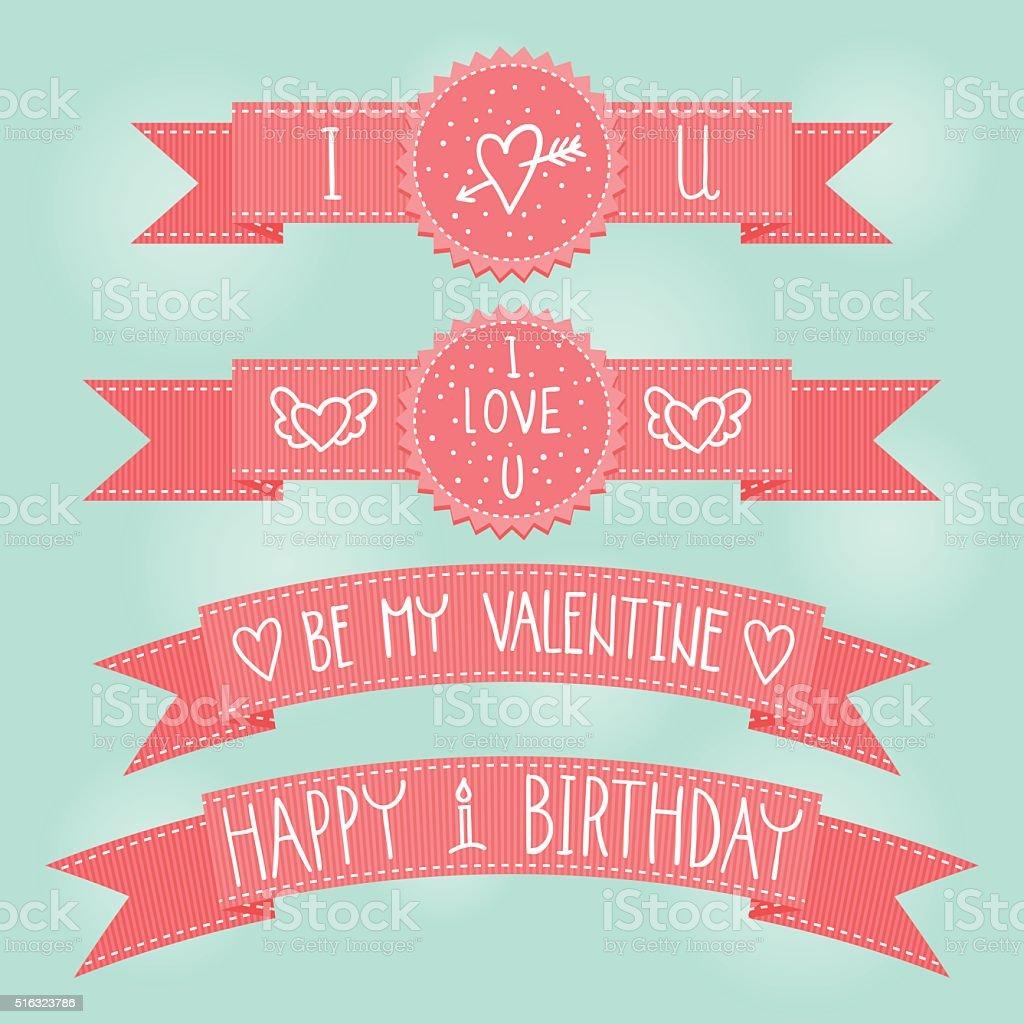 Vector Valentines day, Birthday pink ribbons vector art illustration