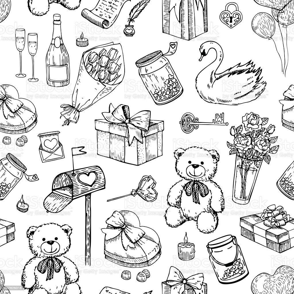 Drawing Of A Valentines Teddy Bear Clip Art Vector Images