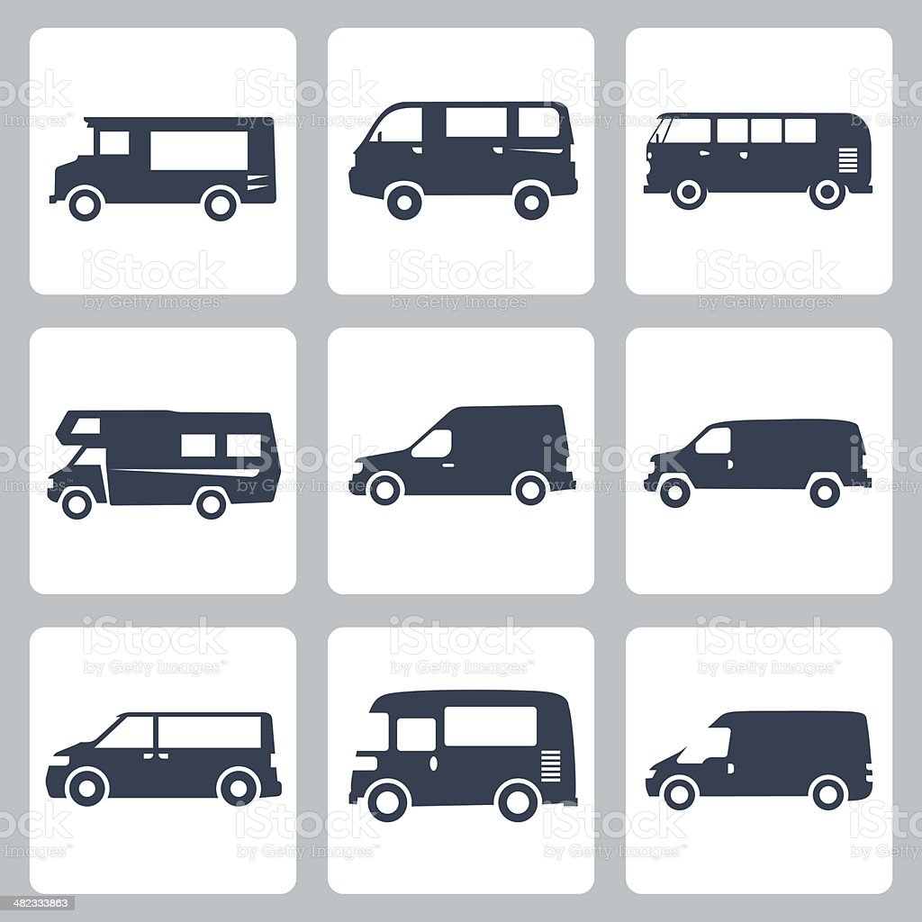 Vector vans (side view) icons set vector art illustration