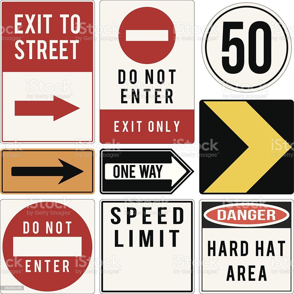 vector various road and warning signs vector art illustration
