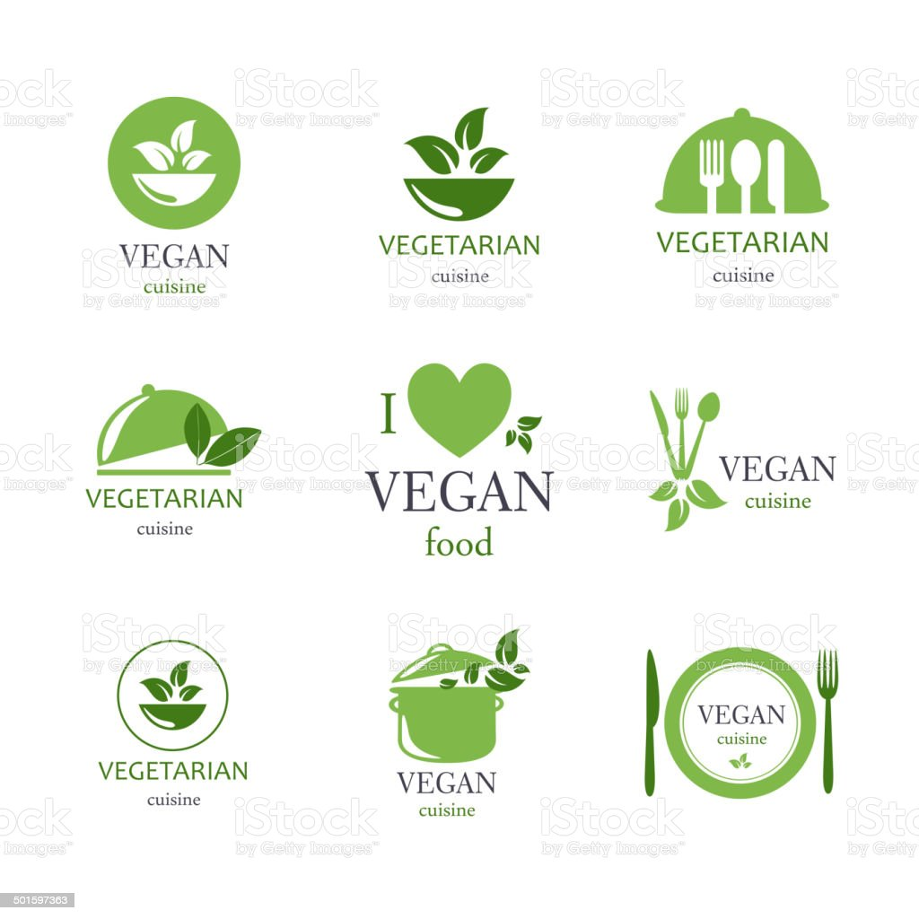 Vector Vegan and Vegetarian Food Emblems vector art illustration
