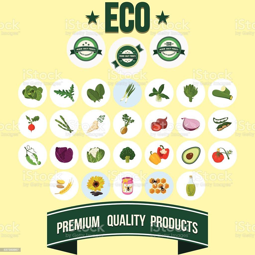 Vector Vegetables with Premium Labels vector art illustration