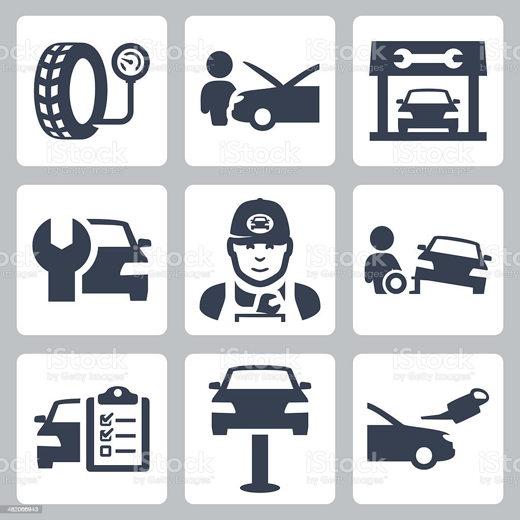 Vector vehicle service station icons set vector art illustration
