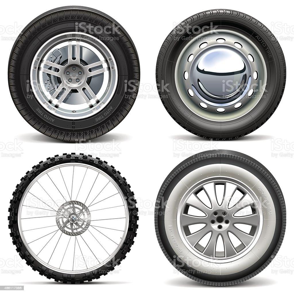Vector Vehicle Wheels vector art illustration