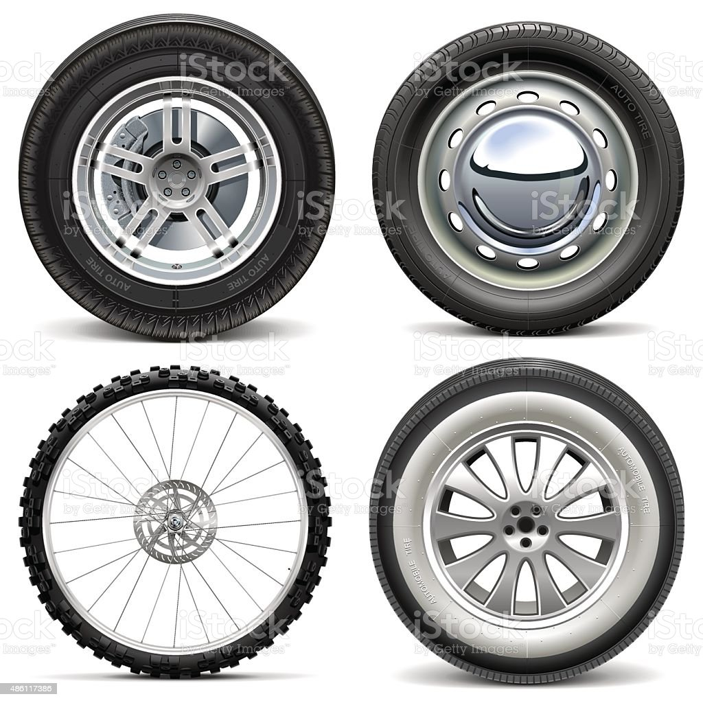 Vector Vehicle Wheels vector art illustration