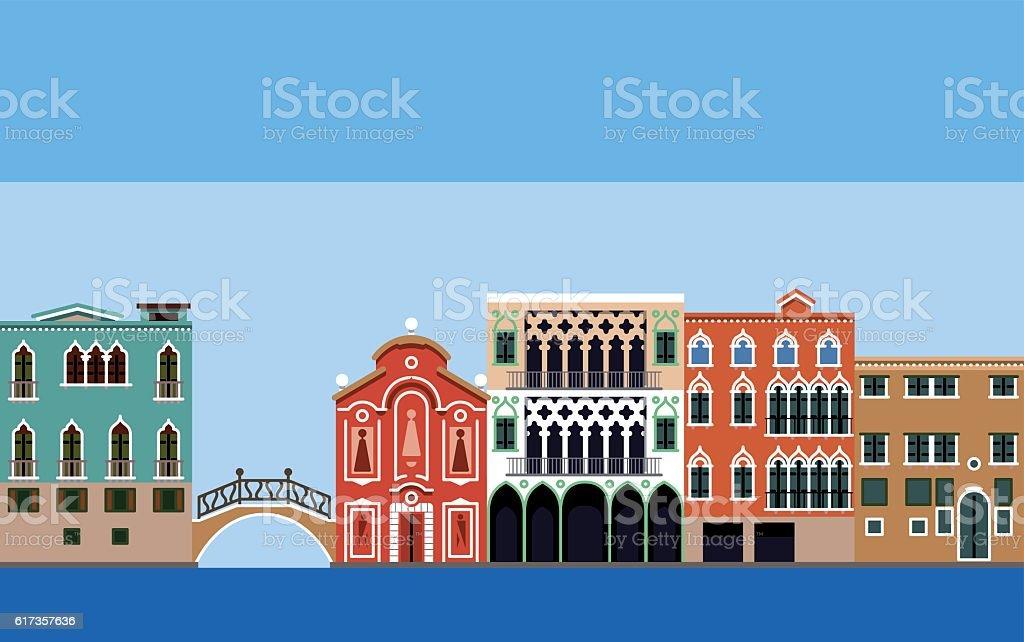 vector Venice house vector art illustration