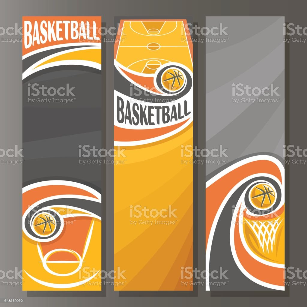 Vector Vertical Banners for Basketball vector art illustration