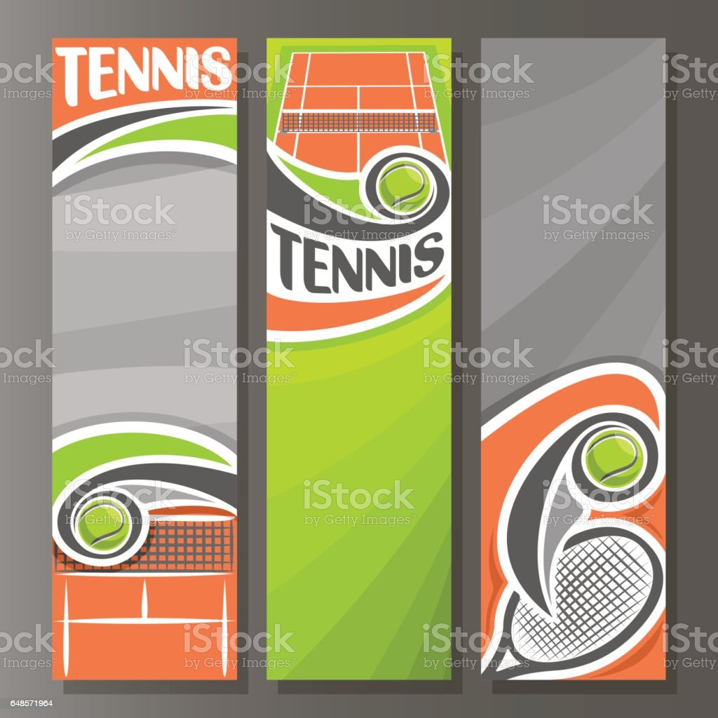 Vector Vertical Banners for Tennis vector art illustration