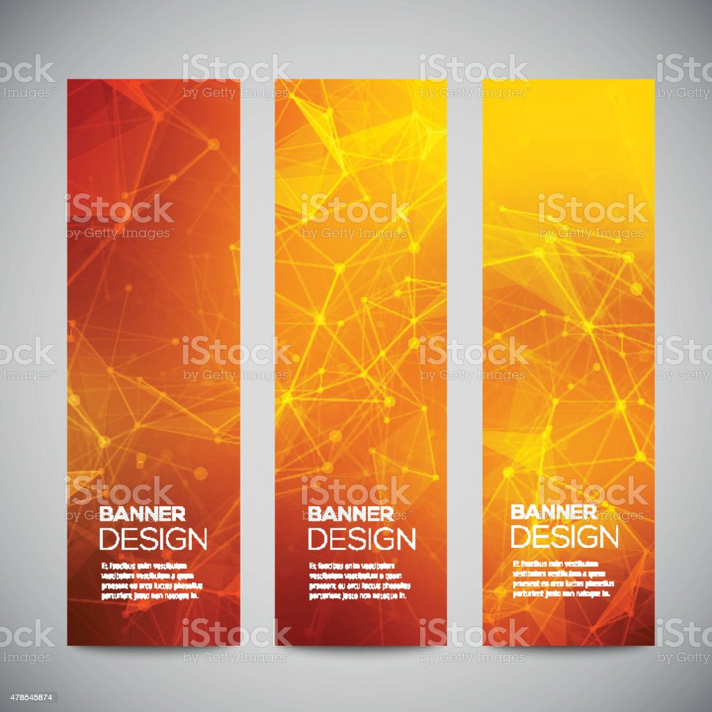 Vector vertical banners set with polygonal abstract shapes, with circles vector art illustration