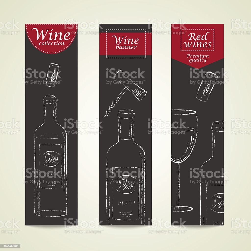 Vector vertical banners with chalk drawn wine bottles and glass vector art illustration