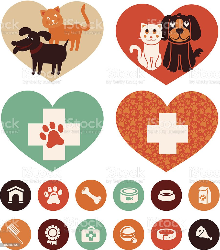 Vector veterinary emblems and signs vector art illustration