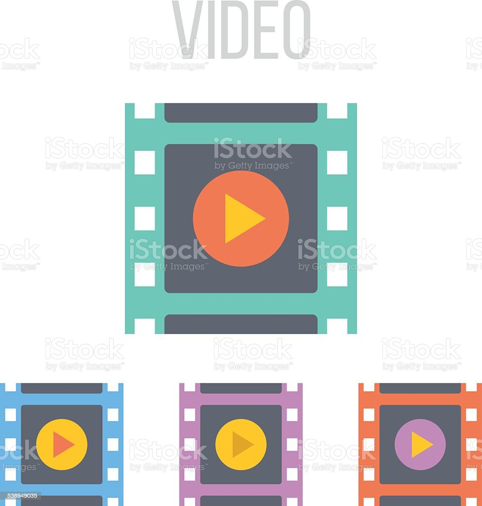Vector video frame icons vector art illustration