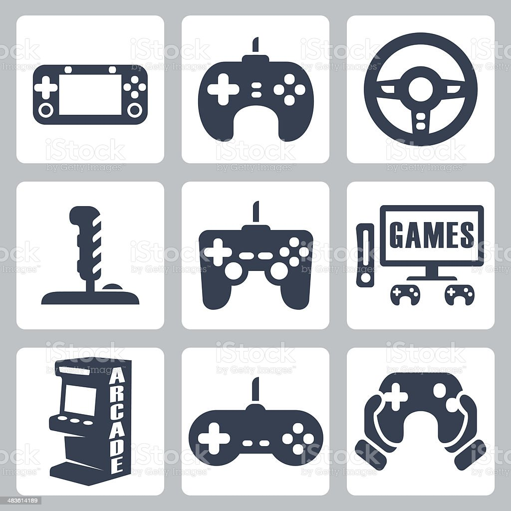 Vector video games icons set vector art illustration
