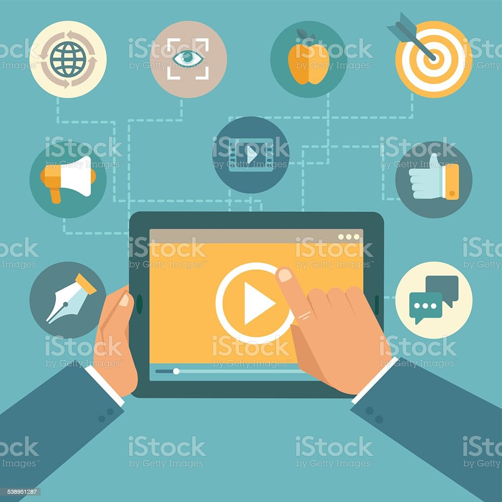 Vector video marketing concept in flat style vector art illustration