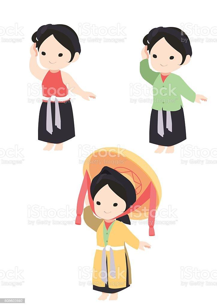Vector Vietnamese traditional dress. Four part dress. vector art illustration