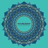 Vector vintage business card. Mandala design. Ornamental doodle background.