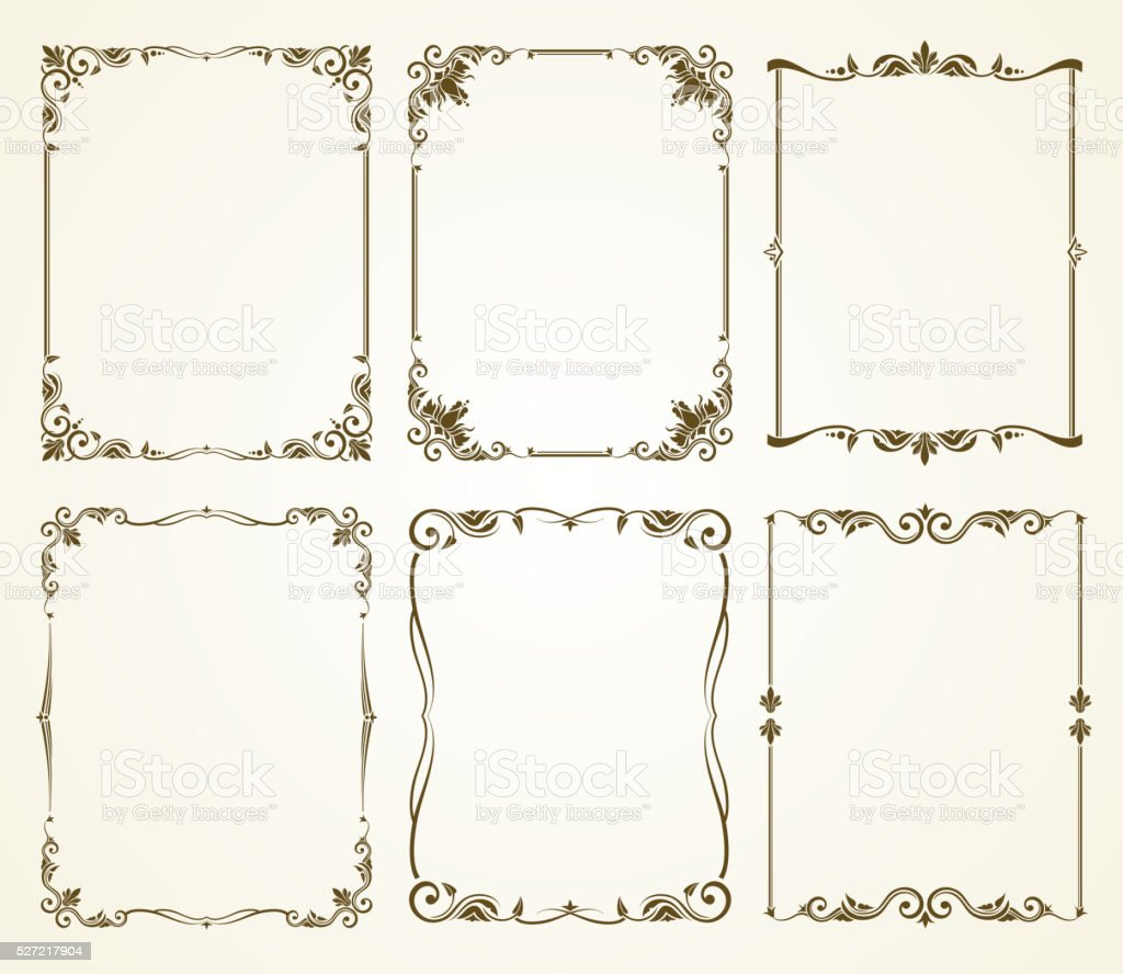 Vector vintage calligraphic frames set vector art illustration