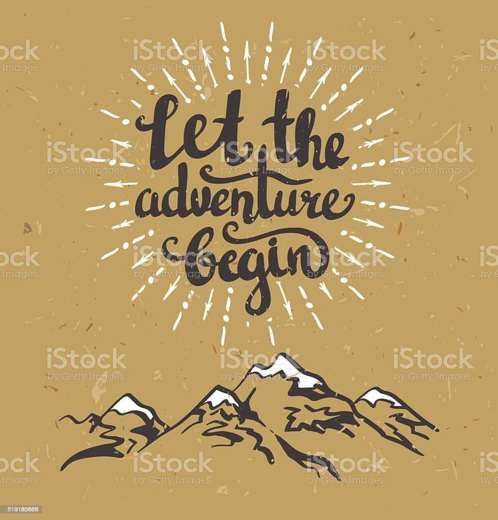 Vector vintage card with mountains, sunburst and inspirational phrase. vector art illustration