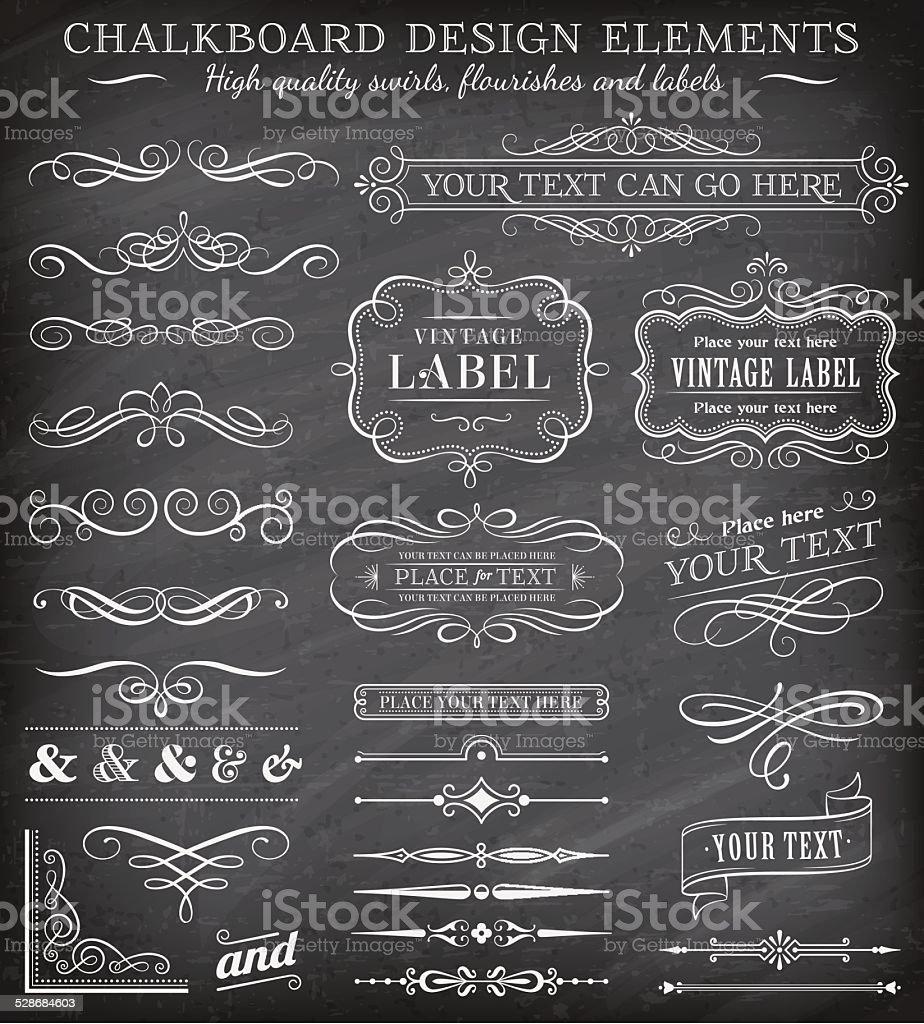 Vector Vintage Chalkboard Labels and Ornaments vector art illustration