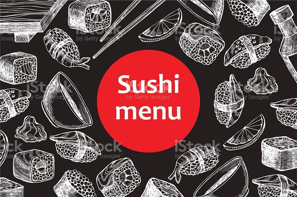 Vector vintage chalkboard sushi restaurant menu illustration. vector art illustration